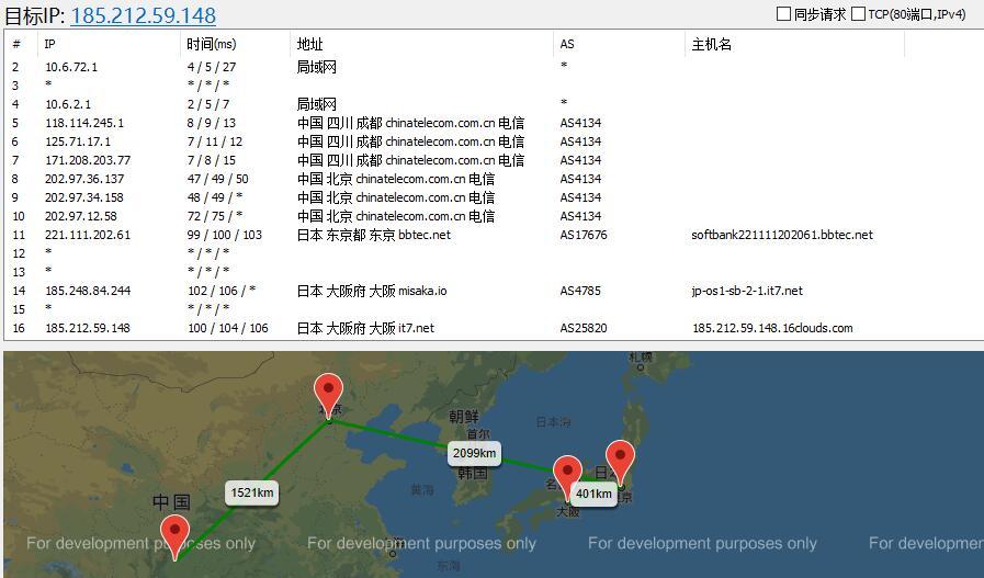 搬瓦工日本节点测评 - 路由测试