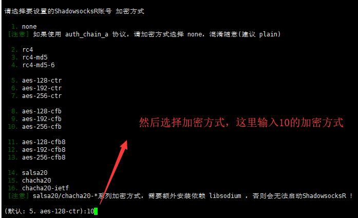 Linux VPS SSR部署步骤4 - 选择加密方式
