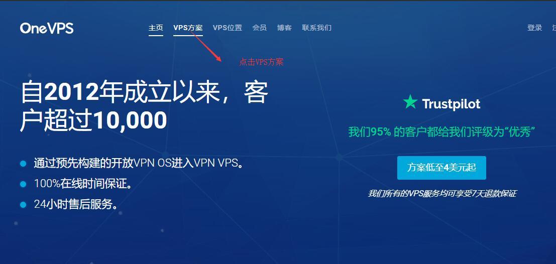 OneVPS首页选择VPS方案