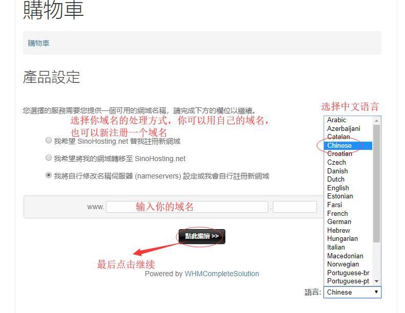台湾虚拟主机SinoHosting新购购买教程 - 选择台湾虚拟主机的域名