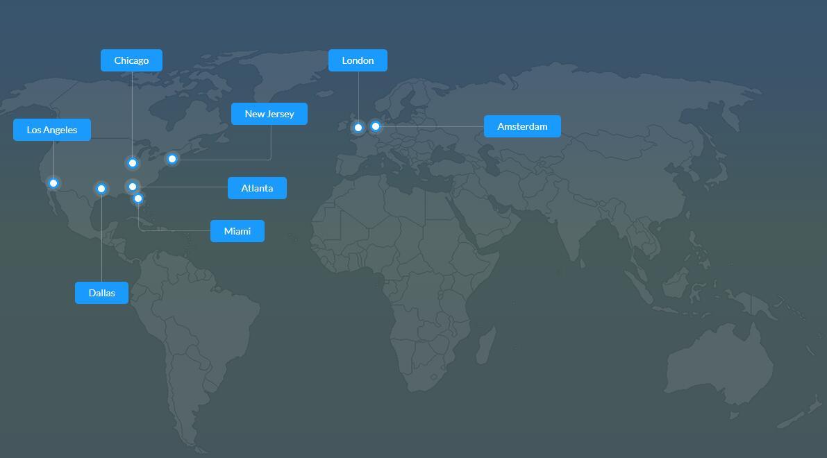 美国VPS iozoom数据中心分布图