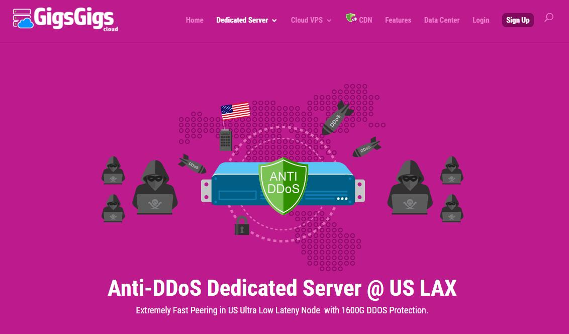 GigsGigs的便宜美国独立服务器推荐 - CN2 GIA线路/无限流量/免费防DDoS攻击保护