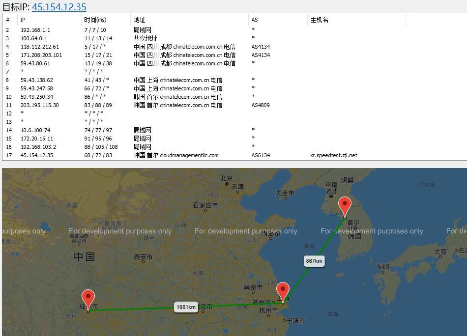 ZJI韩国服务器路由线路测试