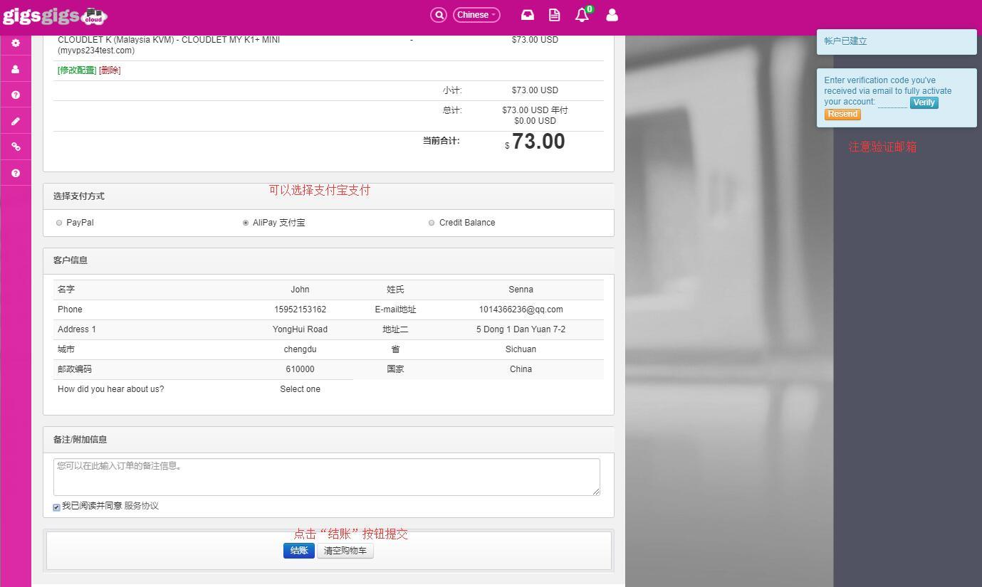 GigsGigs 购买马来西亚VPS 付款方式选择