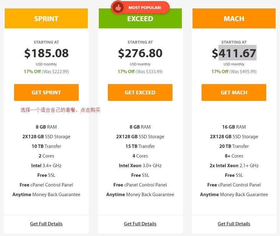 A2Hosting 新加坡独立服务器购买 - 选择套餐