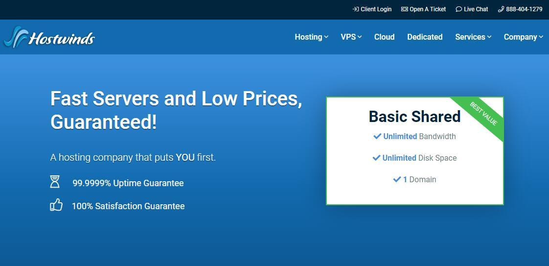美国VPS Hostwinds 推荐 - 价格便宜且速度快。