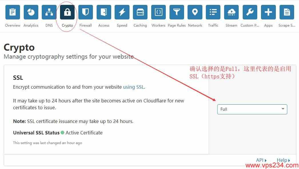cloudflare 设置 - crypto 启用full模式,支持SSL+HTTPS