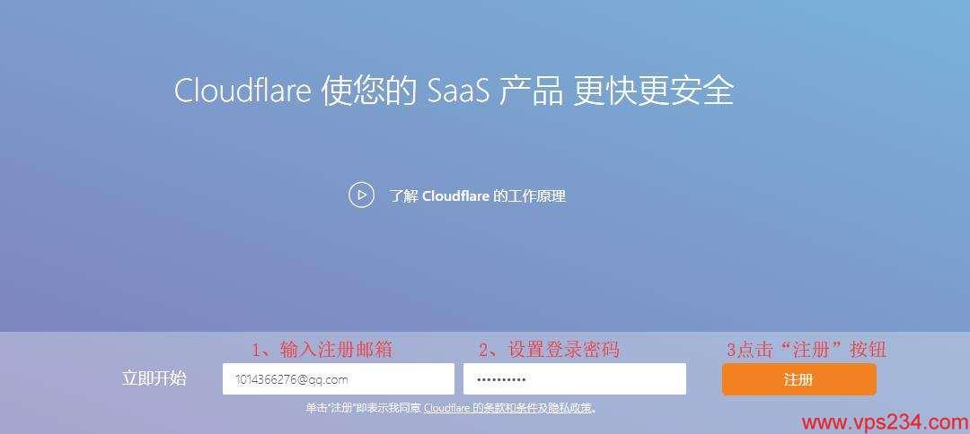 cloudflare 设置前,需要注册账号