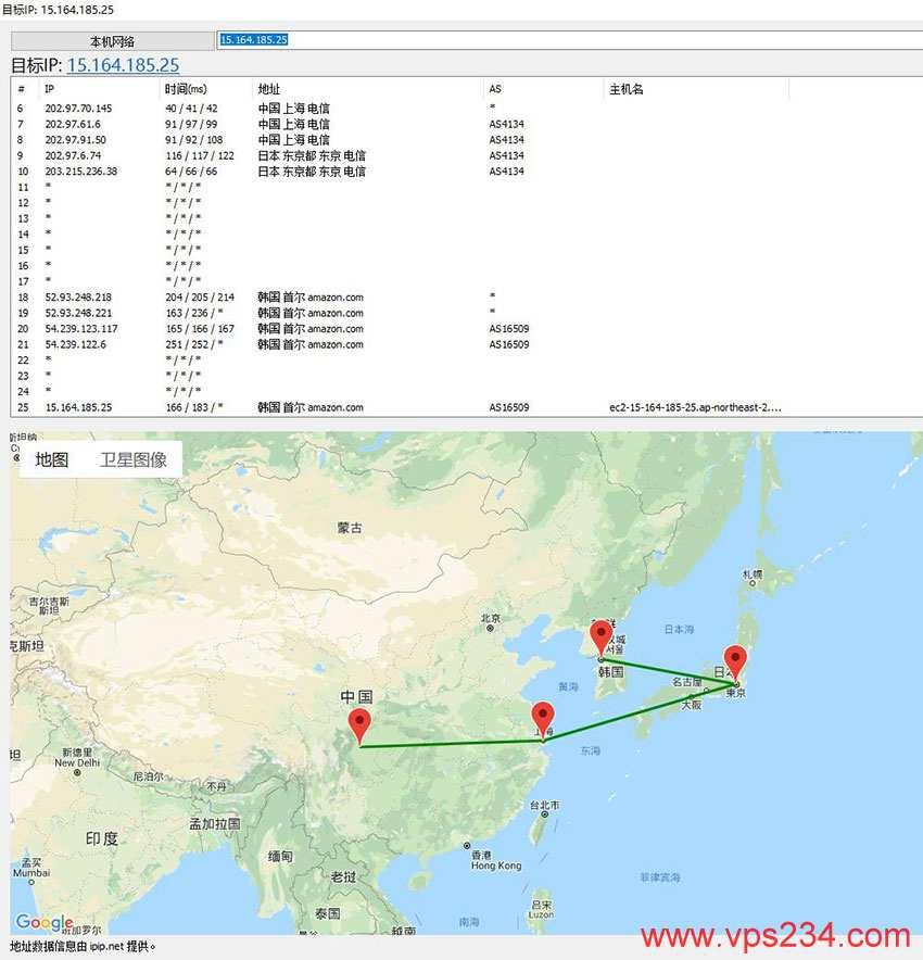 AccuWebHosting 韩国数据中心路由跟踪