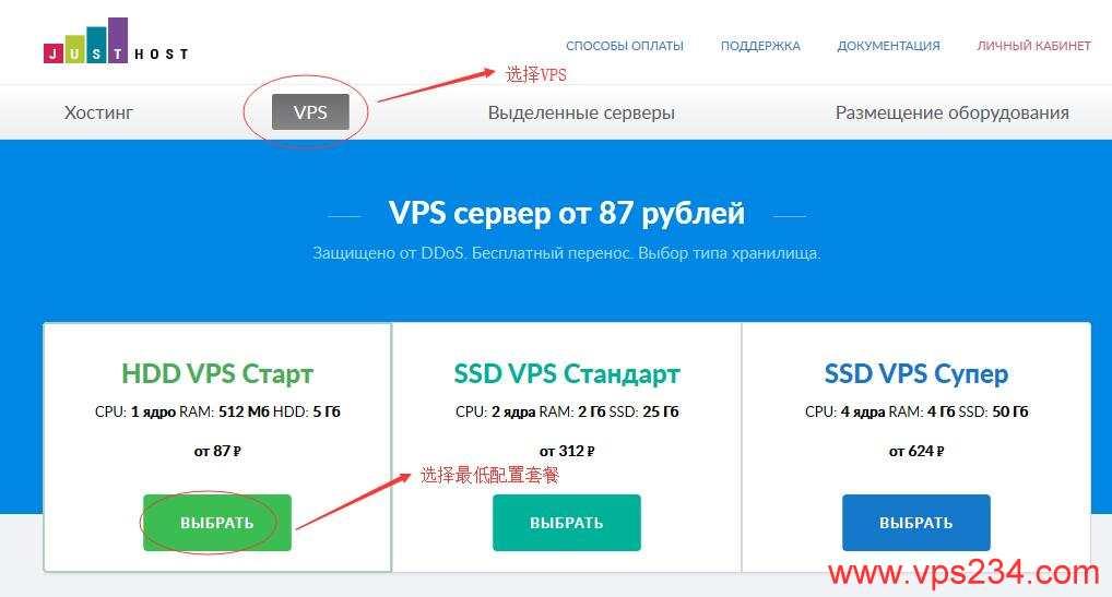 俄罗斯VPS justhost新手购买教程 - 选择一个套餐
