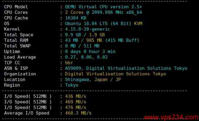 国外VPS digital-vm CPU、硬盘等性能图