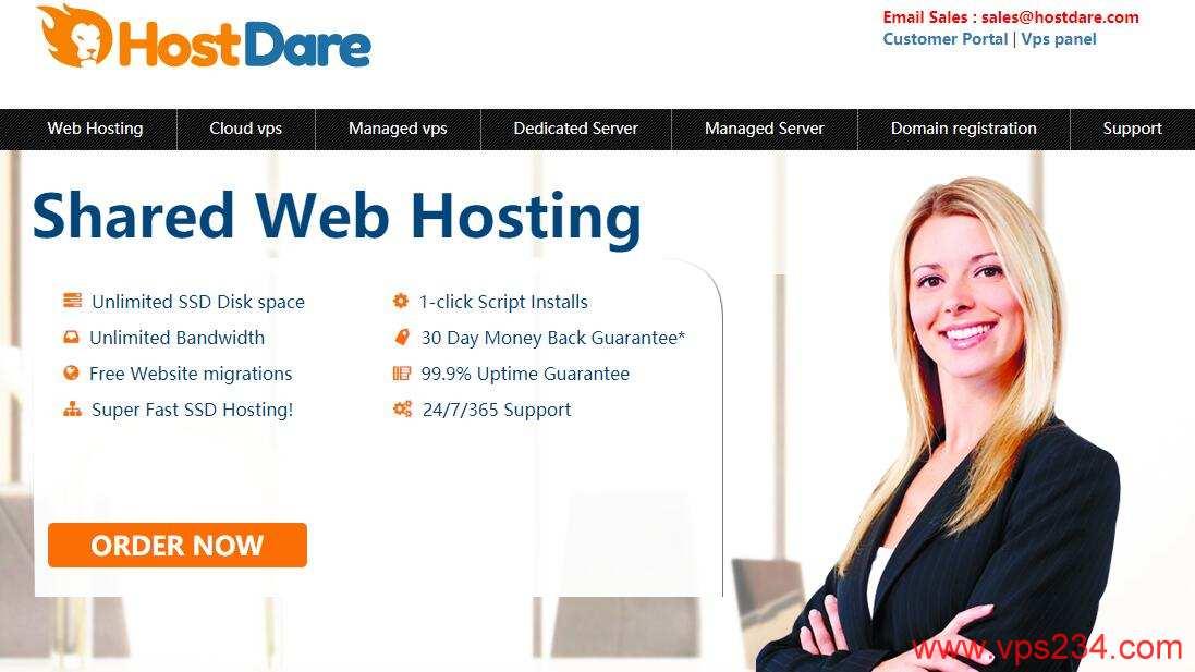美国VPS推荐 HostDare,CN2线路支持,超便宜美国VPS