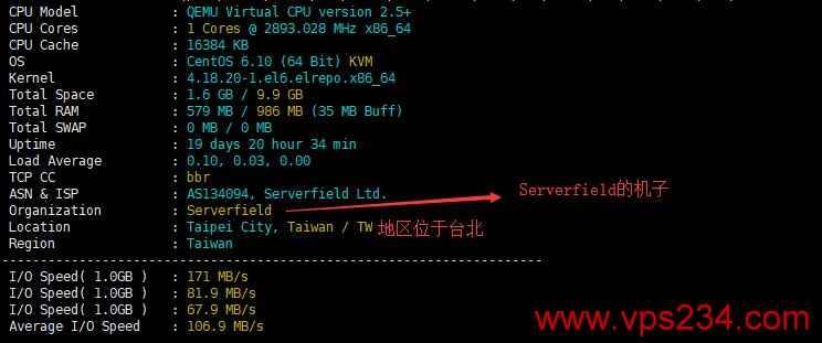 台湾VPS Serverfield服务器配置测评