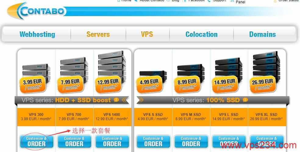 国外VPS Contabo 购买教程 - VPS页面套餐选择