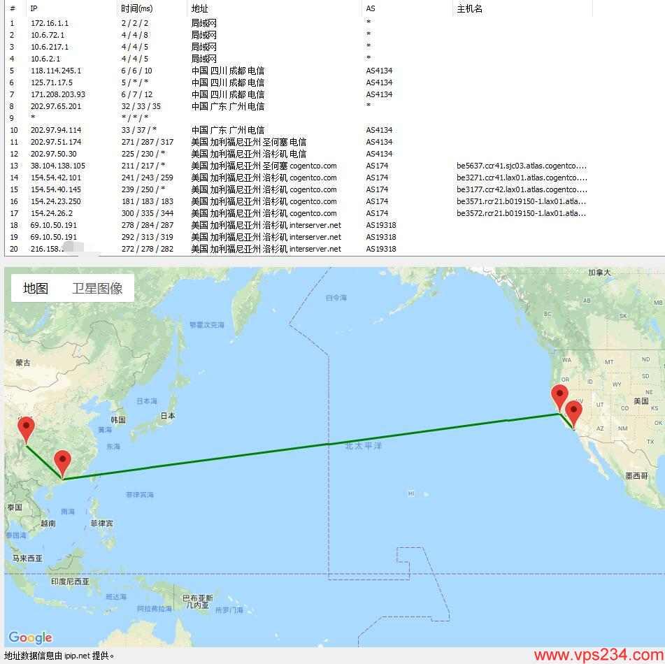美国VPS InterServer 洛杉矶数据中心路由跟踪图