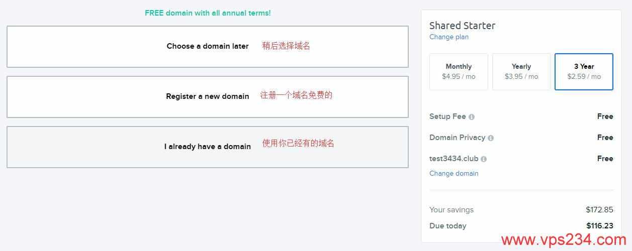 三种域名方式供选择
