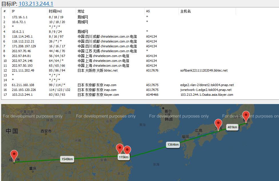 80VPS日本VPS路由线路效果图