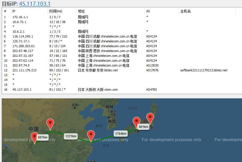 DogYun日本VPS原生IP软银线路路由线路测试
