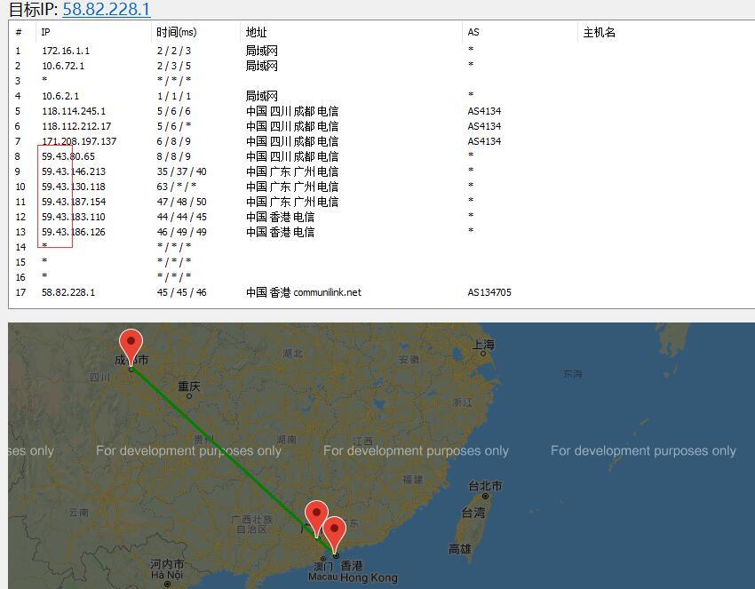 80VPS香港新世界机房路由线路效果图