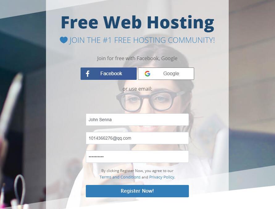 AwardSpace免费虚拟主机用户注册 - 首页选择
