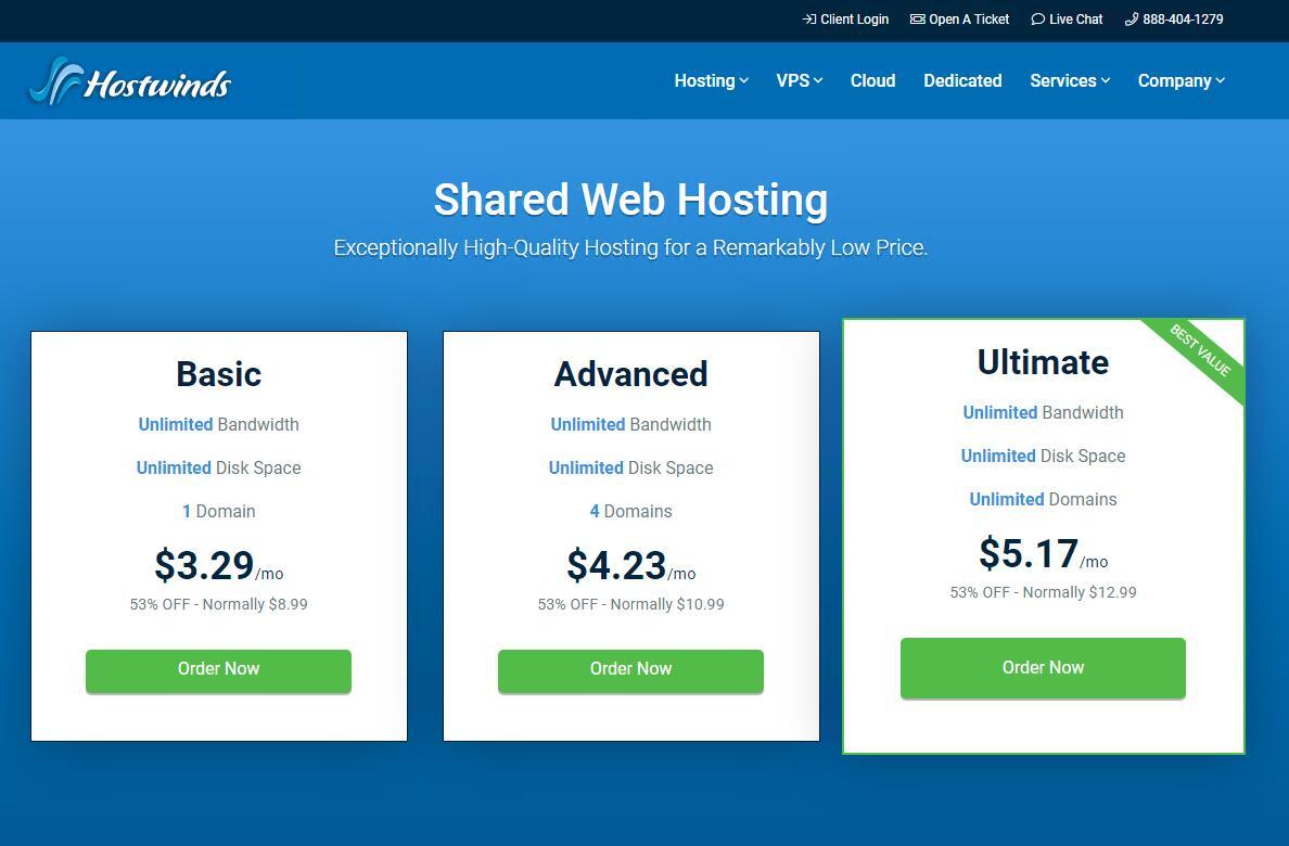 Hostwinds WordPress主机空间