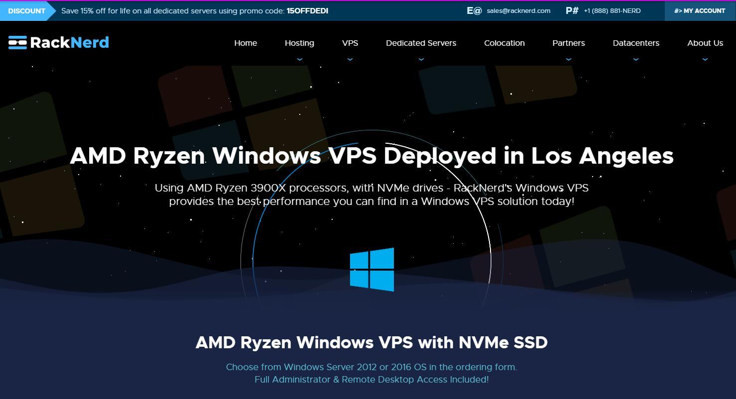 RackNerd美国Windows VPS推荐 - CN2 GIA线路7折优惠