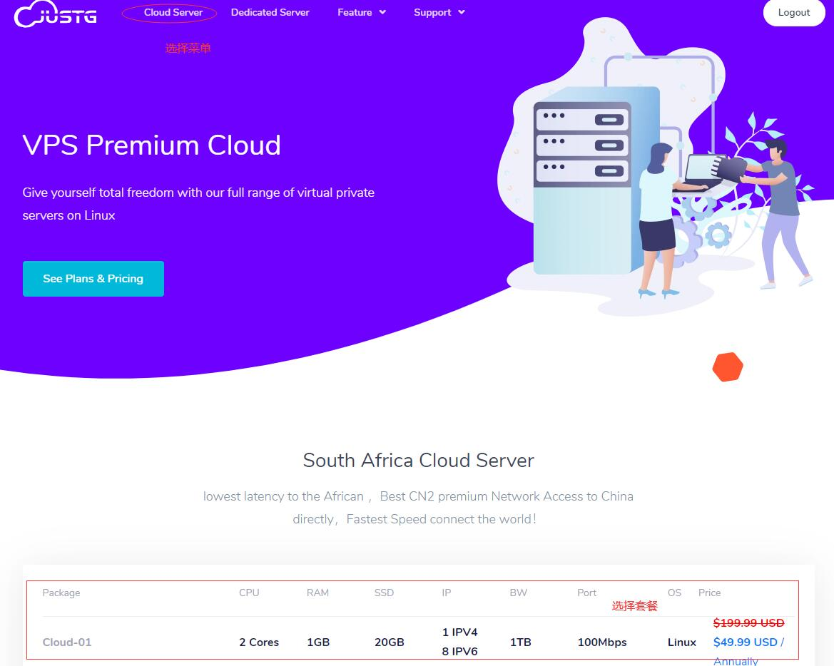 CN2 南非VPS JustG购买教程 - 首页选择