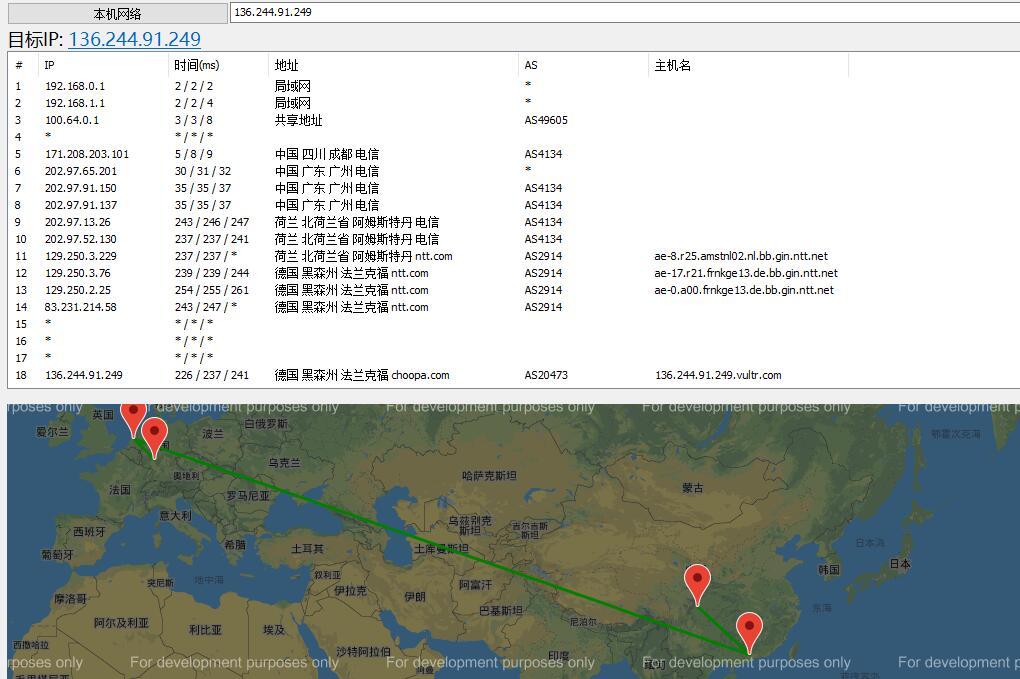 Vultr欧洲节点 - 法兰克福路由线路效果图