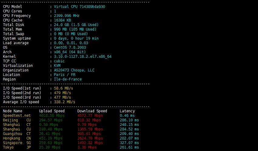Vultr欧洲节点 - 巴黎服务器性能效果图