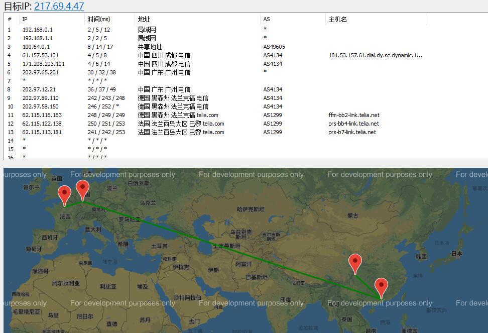 Vultr欧洲节点 - 巴黎路由线路效果图