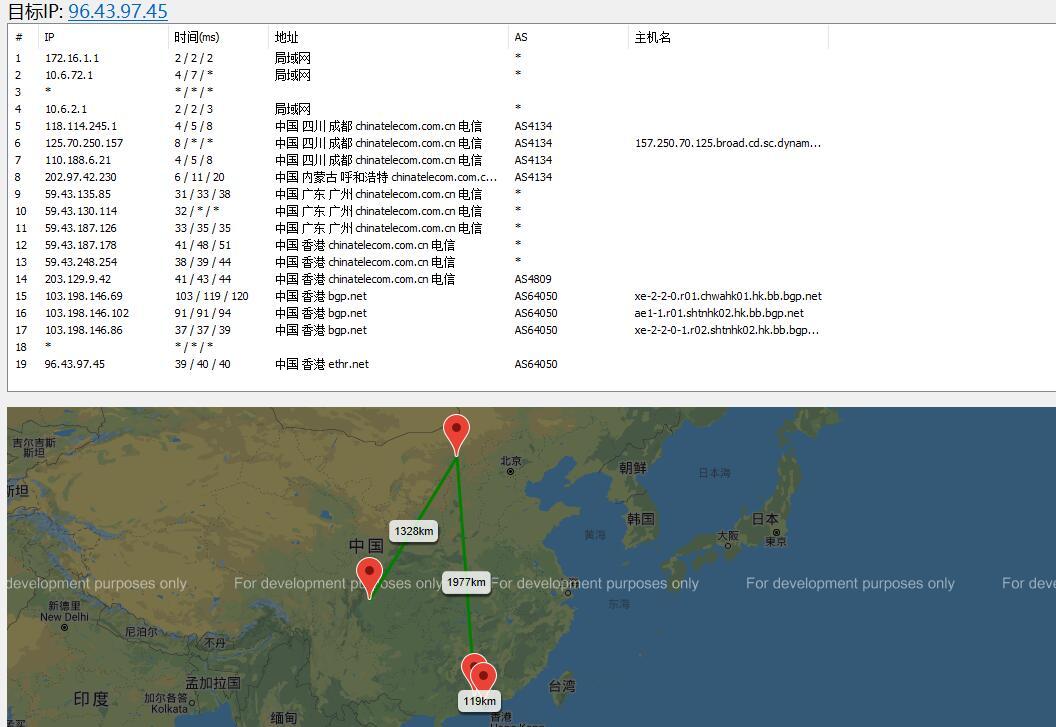 天上云香港服务器路由测试