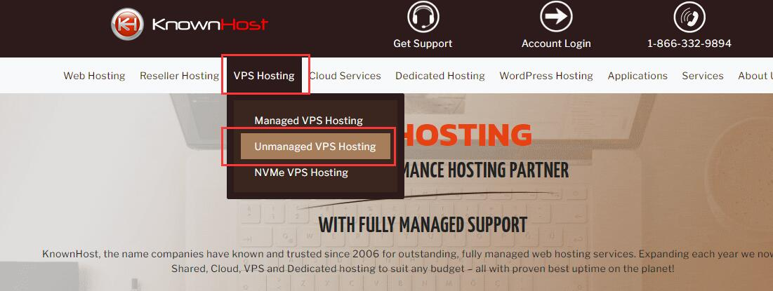 KnownHost VPS购买 - 首页选择Unmanaged VPS