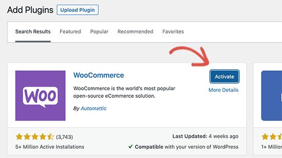激活 WooCommerce