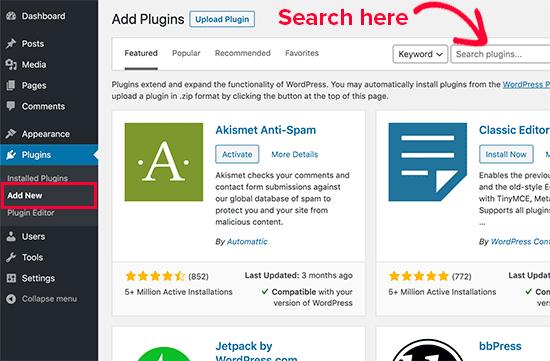 在 WordPress 管理区域中搜索要安装的插件