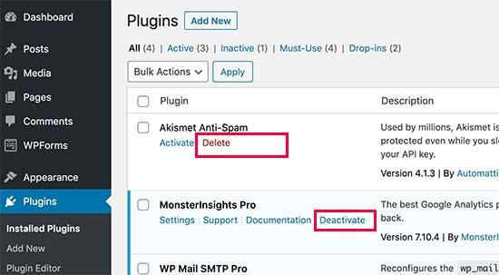 卸载 WordPress 插件