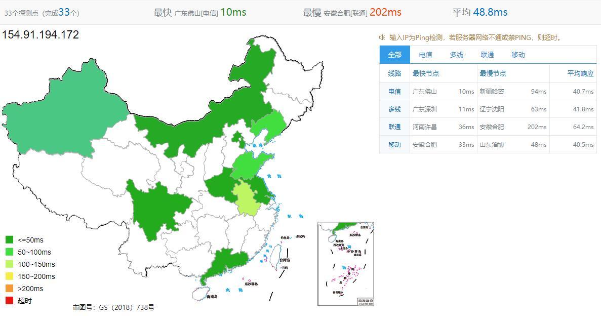 LOCVPS香港VPS Ping效果图