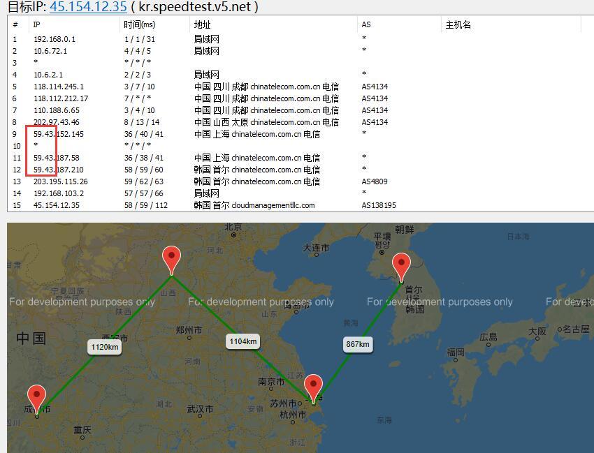 V5.NET韩国独立服务器路由测试