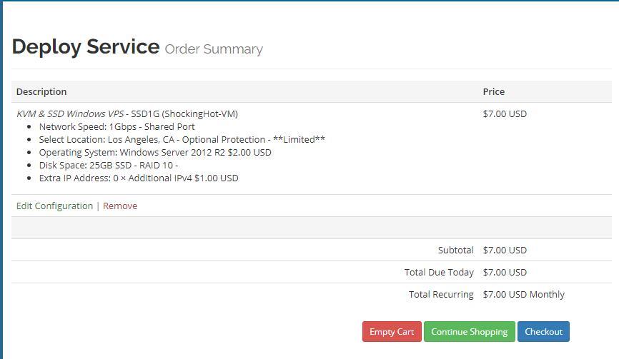 美国VPS VirMach  购买订单页面