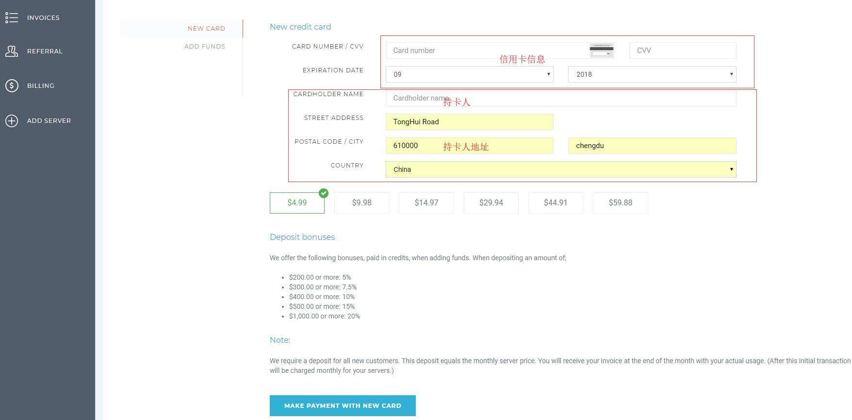VPSServer 付款页面