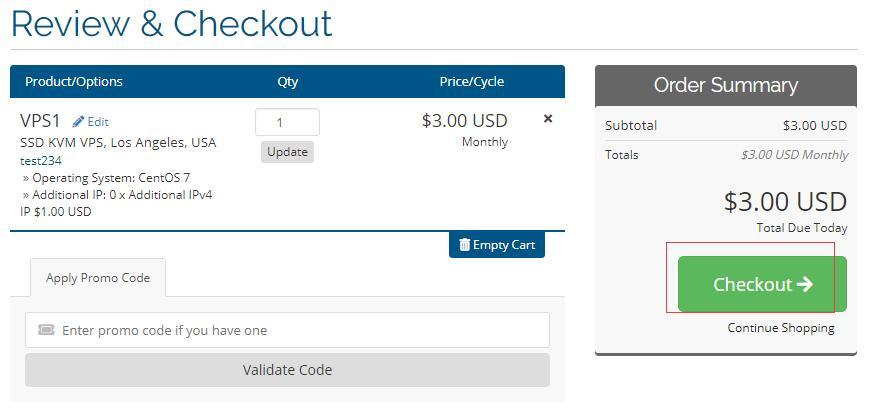 美国VPS hostEONS 购买订单确认页面