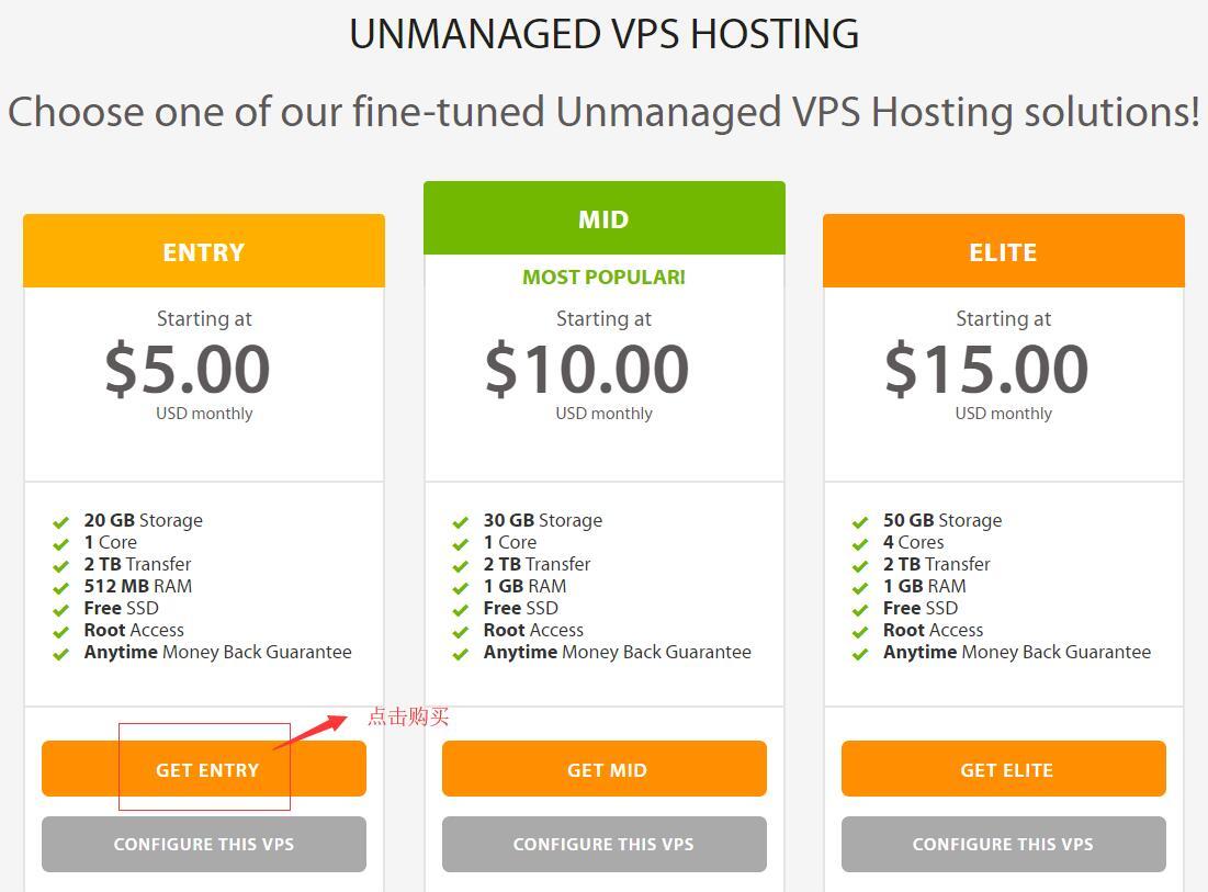 A2Hosting Linux VPS 套餐选择页面