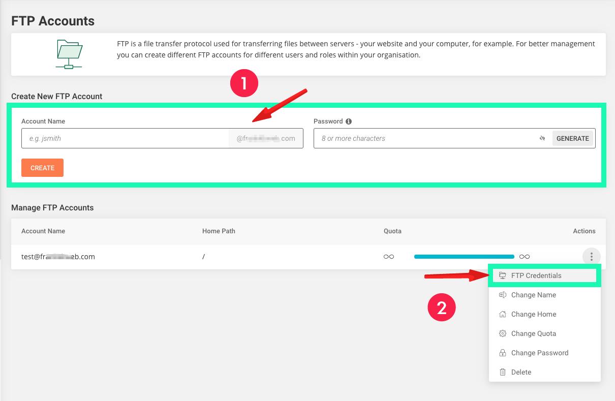 网站建设 :FTP Accounts 上传帐号