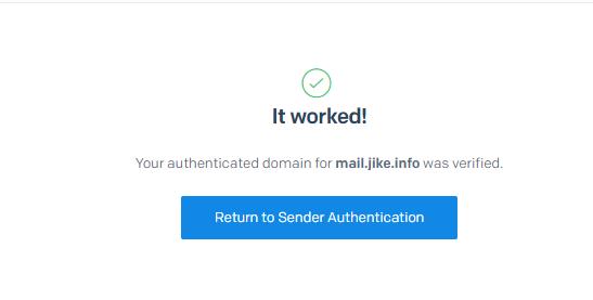 外贸网站搭建教程 - SendGrid邮件服务器验证成功