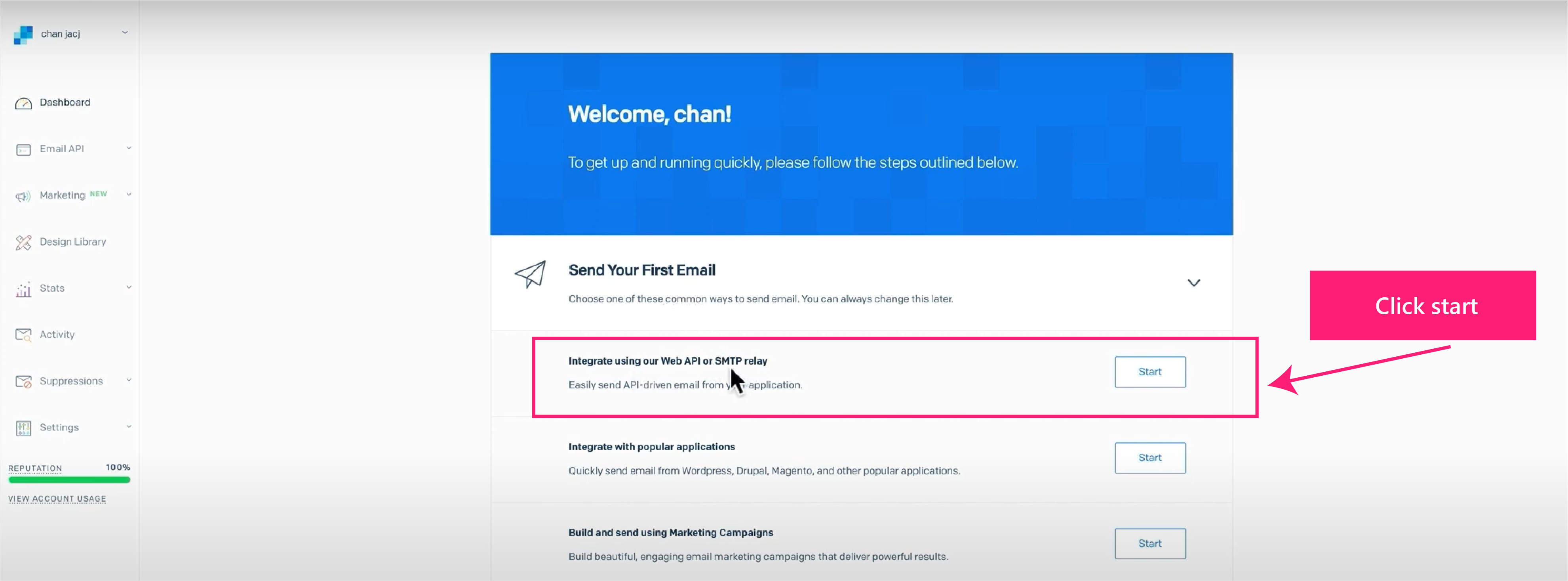 外贸网站搭建教程 - SendGrid邮件服务器dashboard