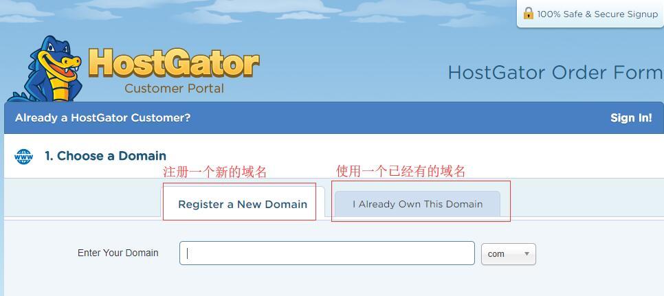 美国VPS HostGator购买域名输入