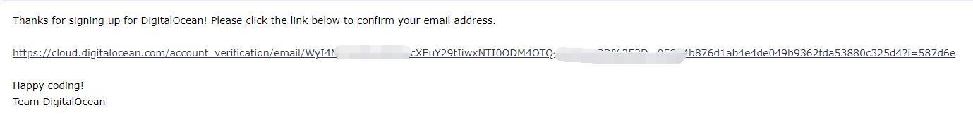 DigitalOcean购买邮件激活